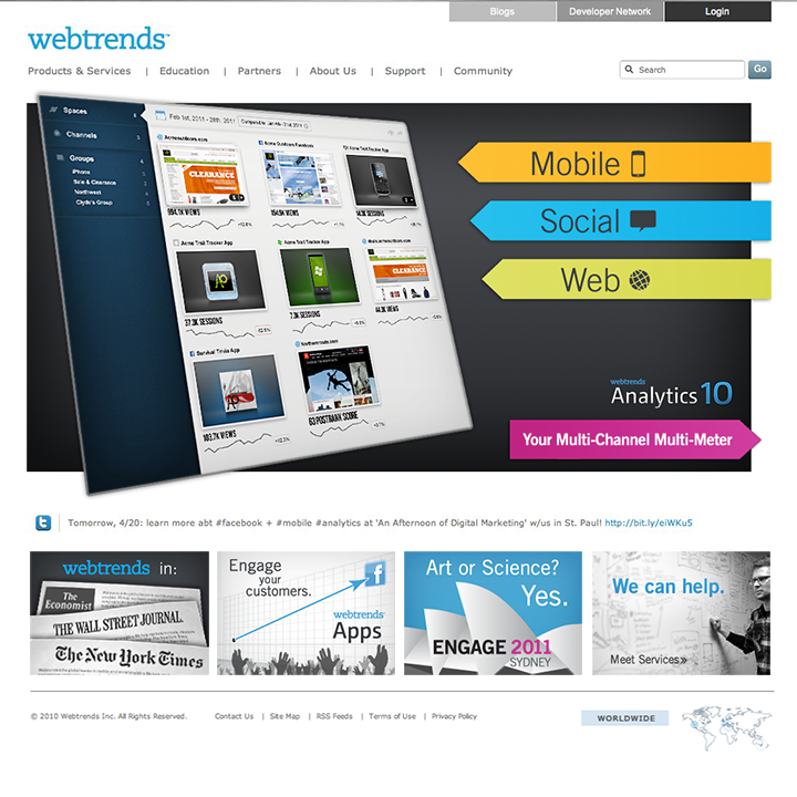 Webtrends homepage redesign