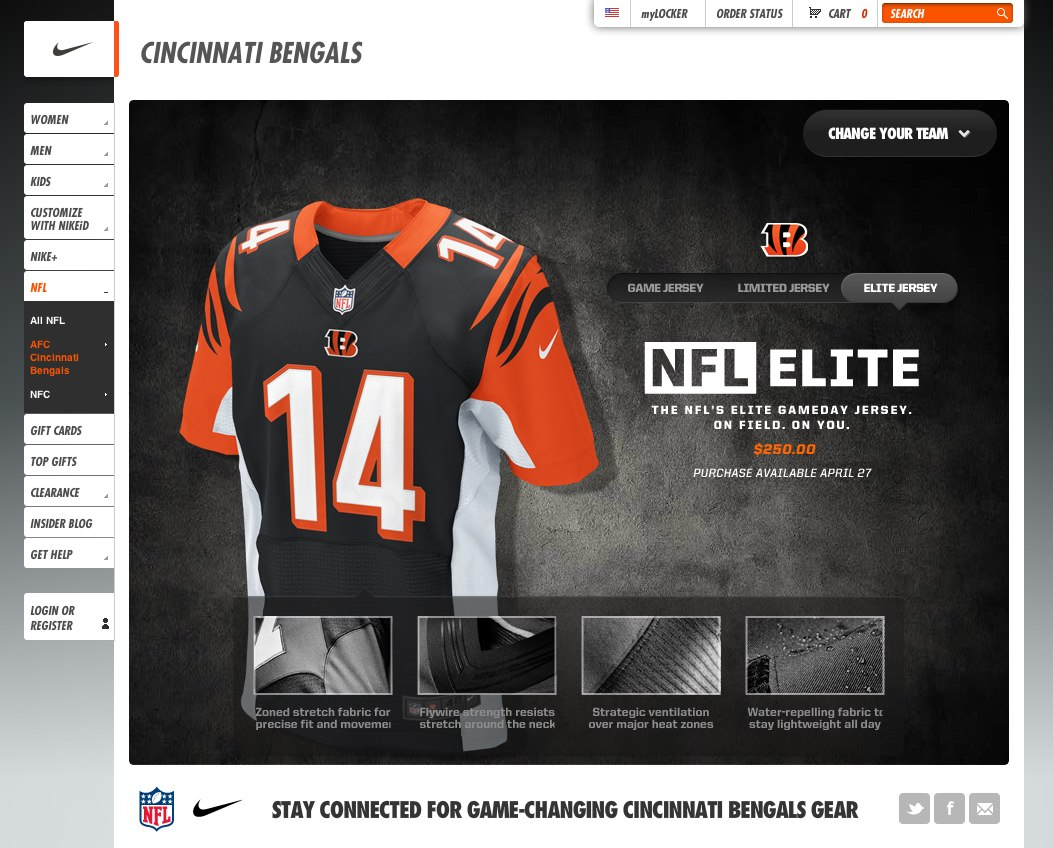 James sitzer nfl jerseys for Nike brochure design